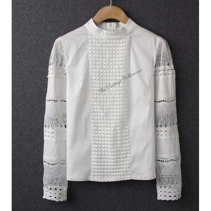 Eyelet and Lace White Blouse