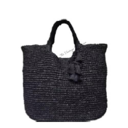 Fallon and Royce Mel Straw Tote | Black | The Vintage Bohemian