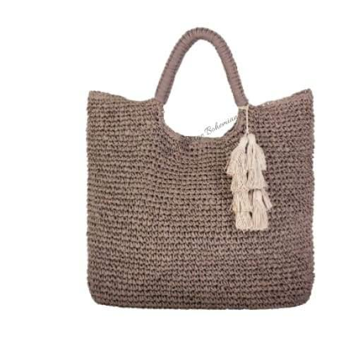 Fallon and Royce Mel Straw Tote | Taupe | The Vintage Bohemian
