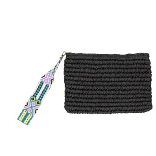 Fallon and Royce Dylan Straw Clutch | Black/Caicos | The Vintage Bohemian