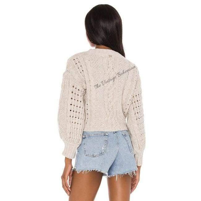 For Love & Lemons Amaryllis Cropped Cardigan | Wheat | The Vintage Bohemian