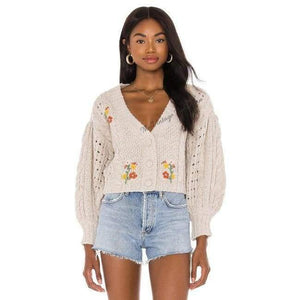 Load image into Gallery viewer, For Love & Lemons Amaryllis Cropped Cardigan - The Vintage Bohemian