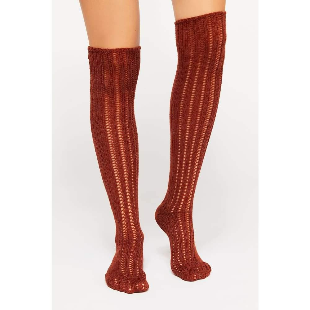Free People | Woodland Pointelle Over the Knee Socks| Terracotta