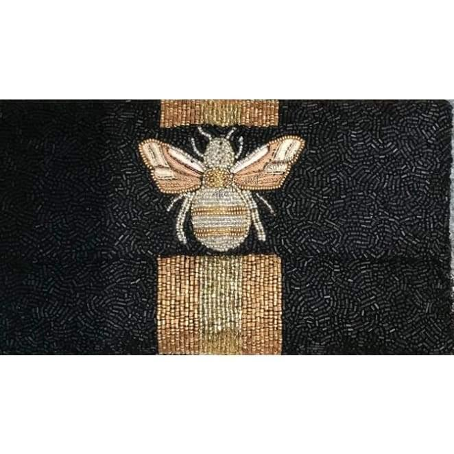 Moyna Beaded 3d Bee Clutch | Black with Bronze/ Gold