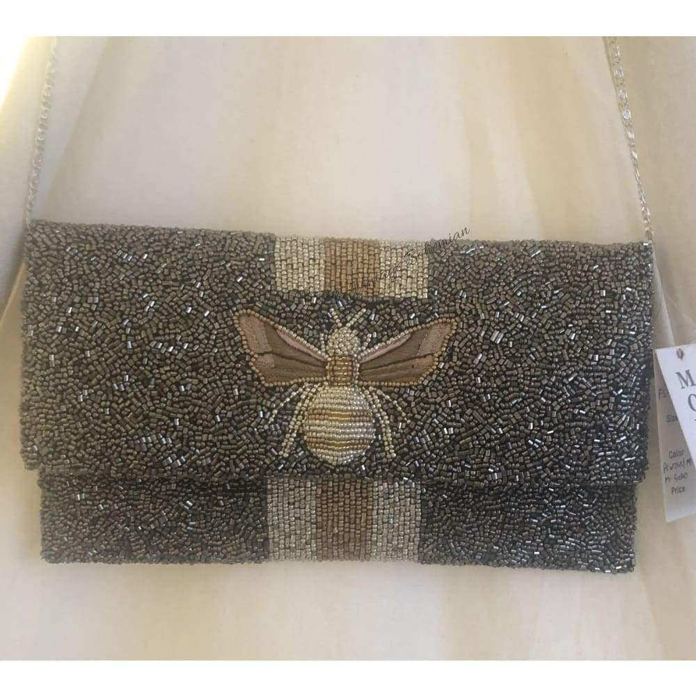 Moyna Beaded 3d Bee Clutch | Pewter with Gold/ Silver - The Vintage Bohemian
