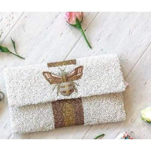 Moyna Beaded 3d Bee Clutch |White with Gold/ Bronze
