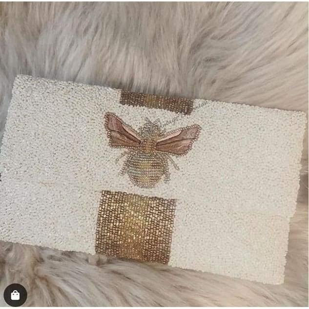 Load image into Gallery viewer, Moyna Beaded 3d Bee Clutch |White with Gold/ Bronze - The Vintage Bohemian