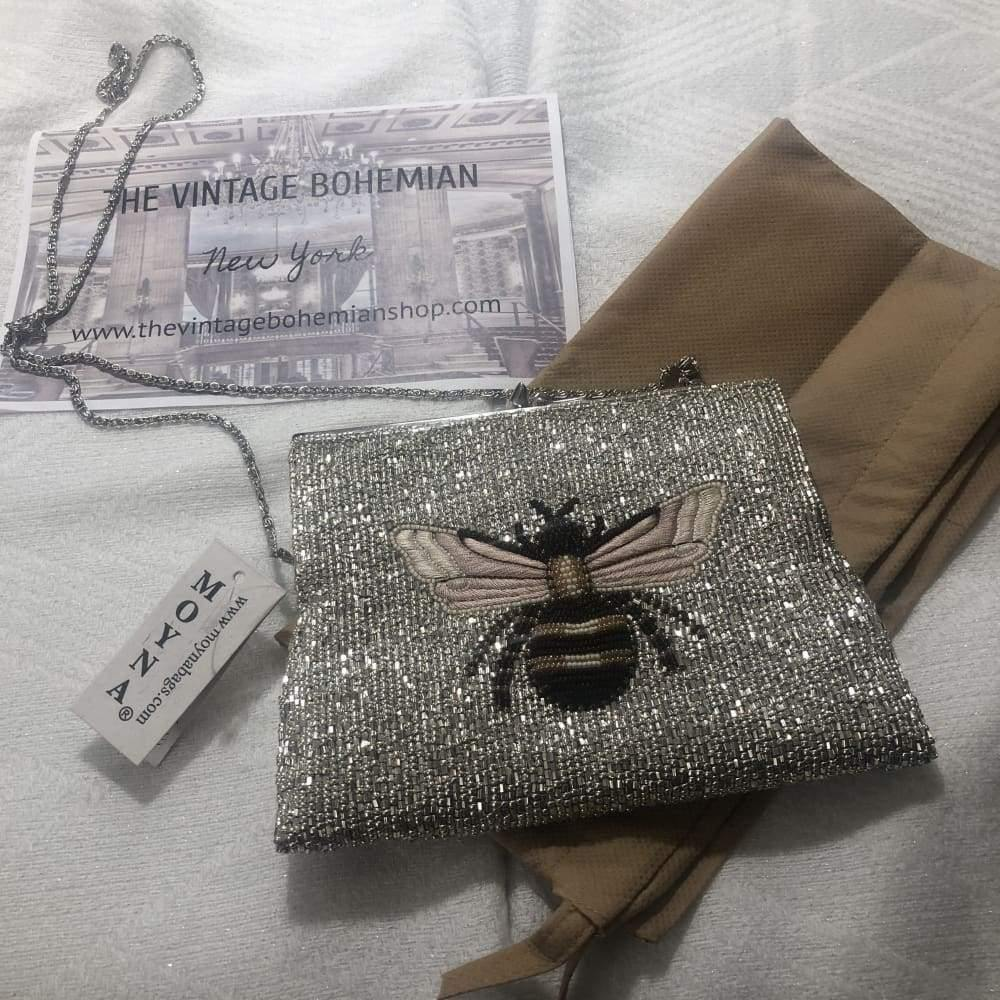 Moyna Beaded 3D Bee Square Clutch - The Vintage Bohemian
