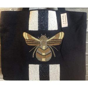 Moyna Tote Beaded Bee Design - The Vintage Bohemian