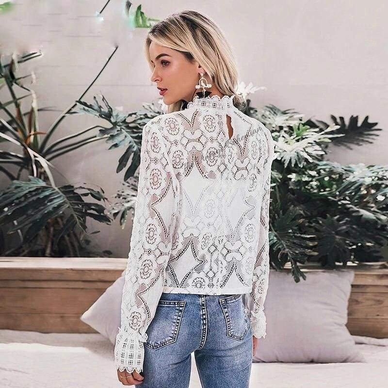 Load image into Gallery viewer, Rosaline White Lace Lantern Sleeve Blouse