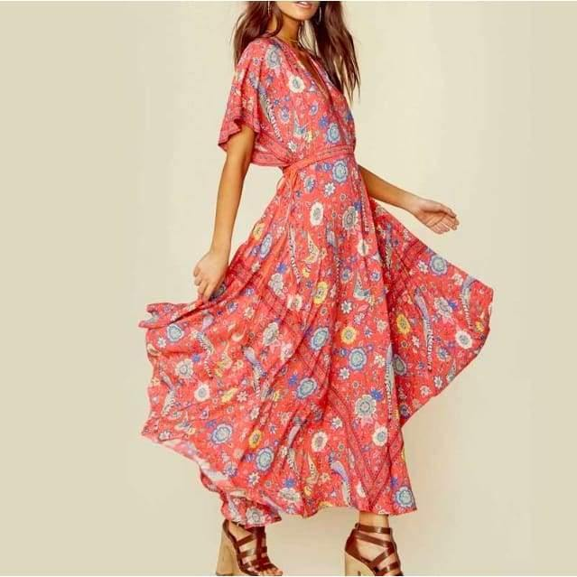 Load image into Gallery viewer, Santorini Boho Maxi Dress