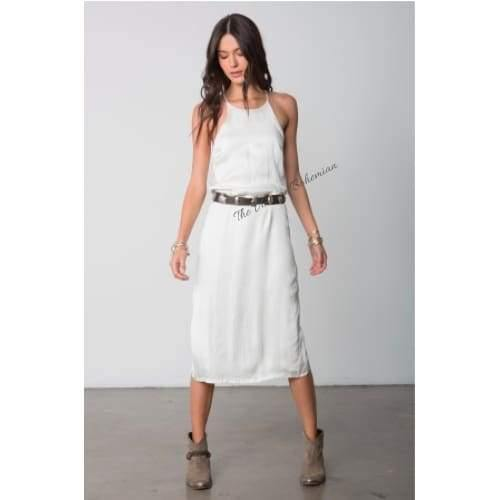 Stillwater LA | The High Neck Slip Midi Dress | White | The Vintage Bohemian