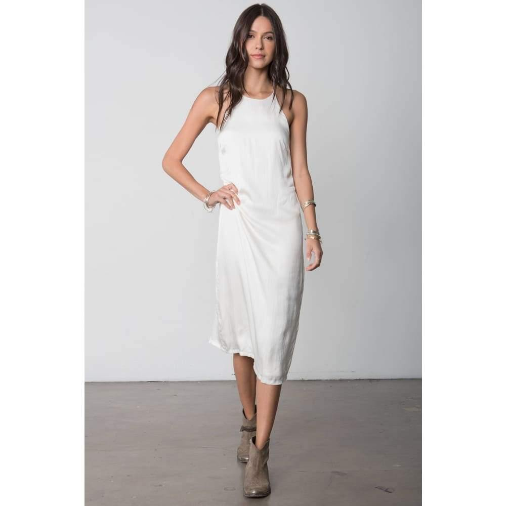 Stillwater The High Neck Slip Midi Dress | White