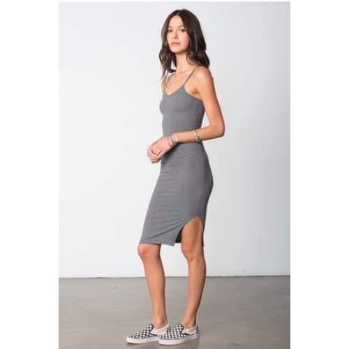 Stillwater The So Simple Rib Tank Dress | Charcoal