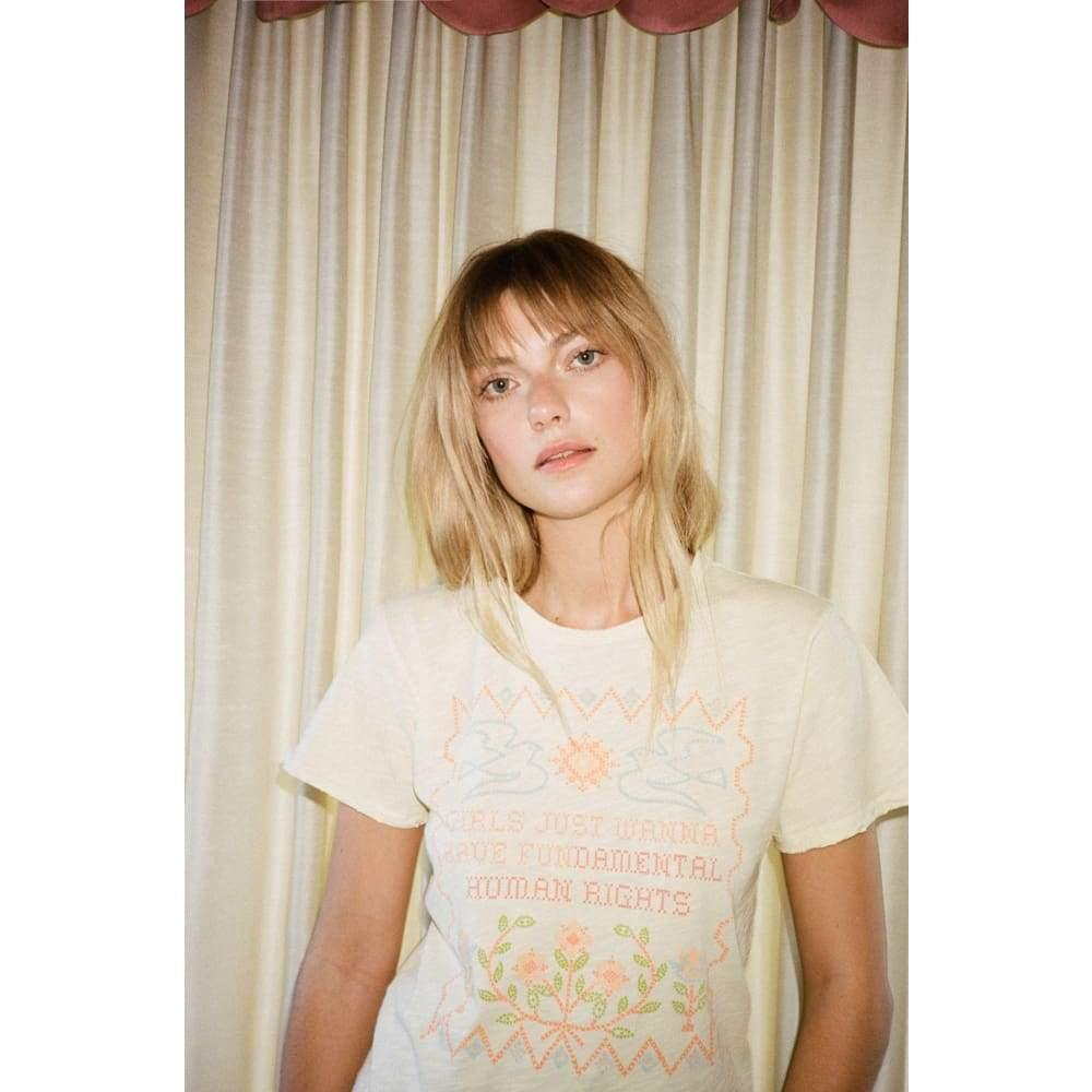 Stoned Immaculate Girls Just Wanna Have Fundamental Rights Tee in Pale Yellow