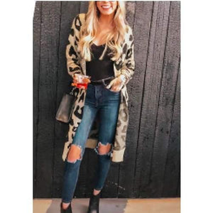Load image into Gallery viewer, Leopard Knit Cardigan - The Vintage Bohemian