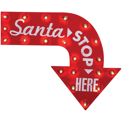 Gemmy Santa Stop Here Vintage Sign
