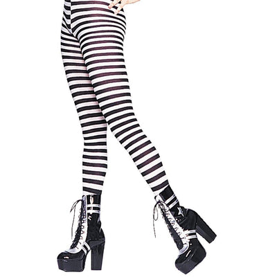 Tights Striped Bk Wt Plus
