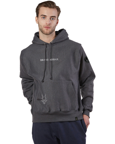 Men's Brand Addax Grey Embroidered Hoodie