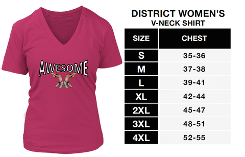 Awesome V-Neck District Shirt Cancer Awareness Ribbons on Tiny Men Lifting the Word Awesome