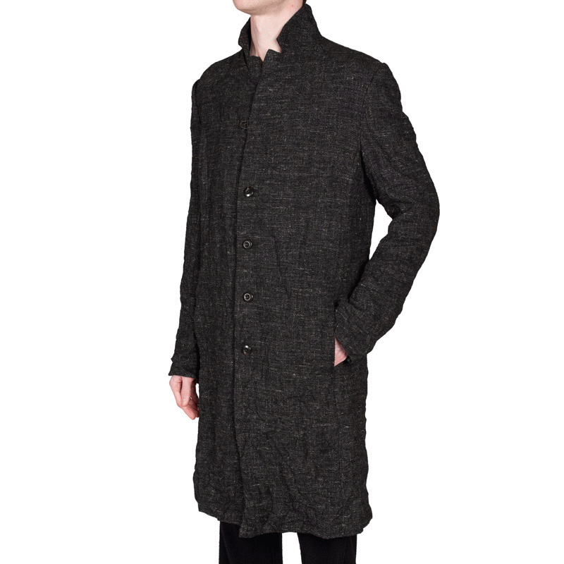 Crinkled Wool-Hemp Coat by Attachment