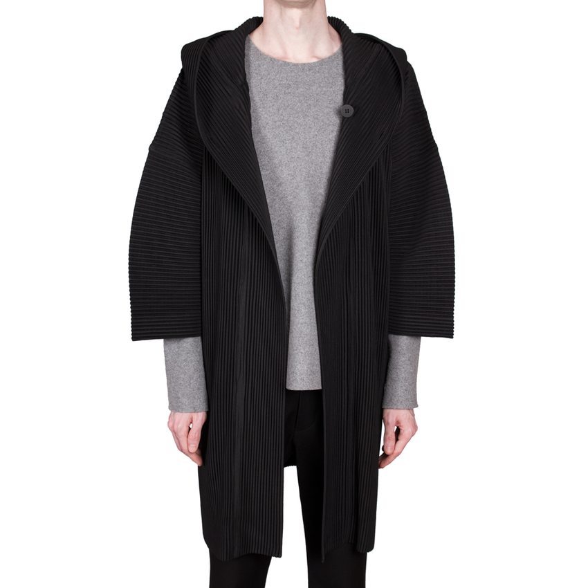 Pleated Hooded Coat