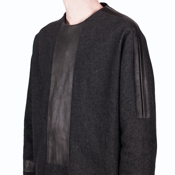 Leather Panel Pullover by Nicomede Talavera