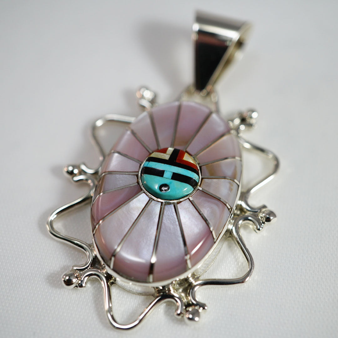 Zuni Sun Face Pendant by Eldrick and Charlotte Seoutewa