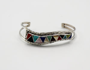 Multi-Gemstone Inlay Bracelet by Eldrick and Charlotte Seoutewa