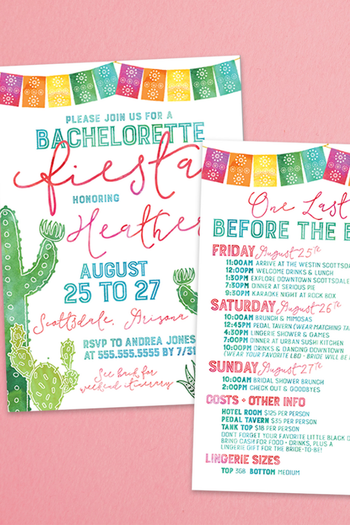 Fiesta Invitation & Itinerary | 5 Tips for Planning the Best Bach Weekend | designtwentyfive