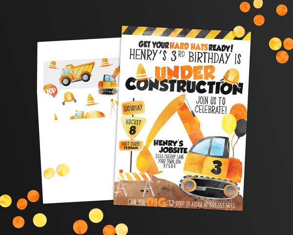 under construction birthday party invitation, designtwentyfive
