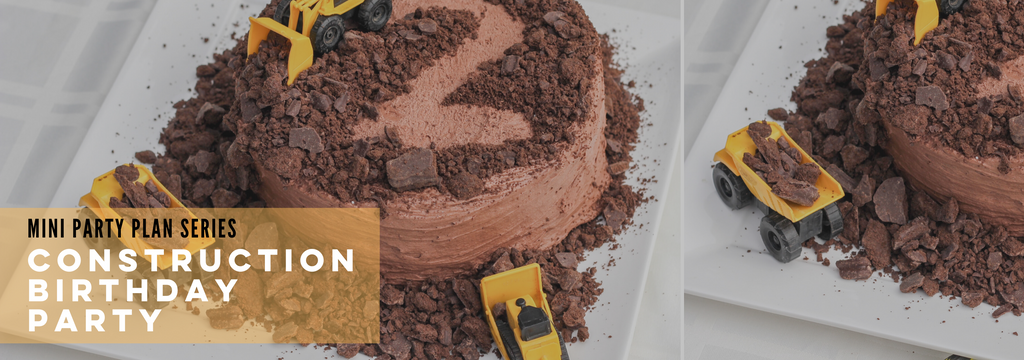 mini party plan, construction birthday party, digger birthday party