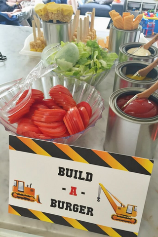build a burger bar, construction party food station, food ideas