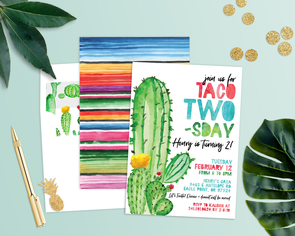 taco twosday, taco tuesday invitation, cactus invitation, serape invite