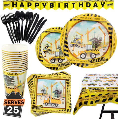 construction party supplies, party plates