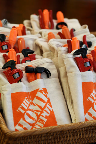 home depot aprons, construction birthday party favors