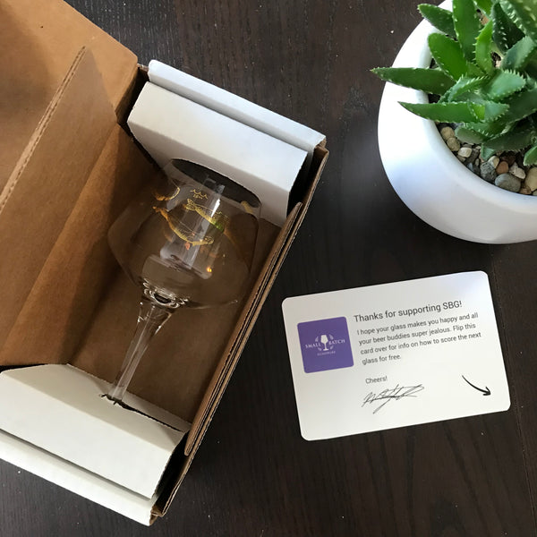 Small Batch Glassware glasses are shipped in special boxes.