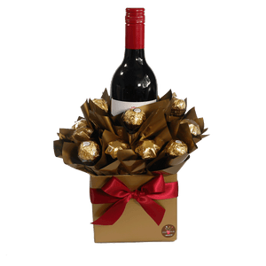 Wine and Ferrero Rocher Chocolate Bouquet Hamper Gift