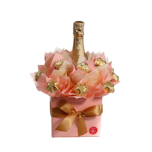 Bouquet with Ferrero Rochers Chocolate Stars and Mini Lanson Champagne Pink colour