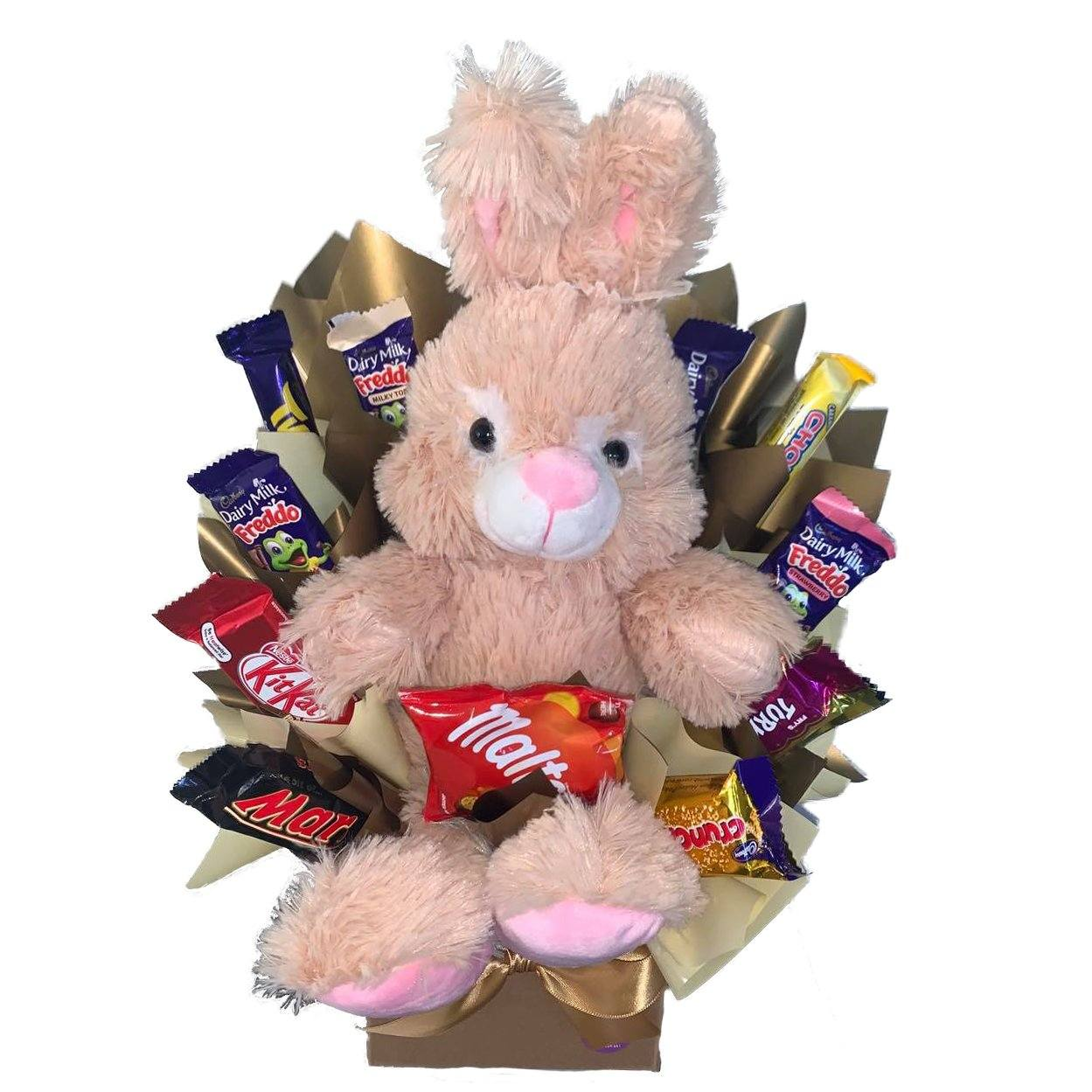 25cm plush bunny sitting in posy box with Nestle and Cadbury chocolates by Lollylicious