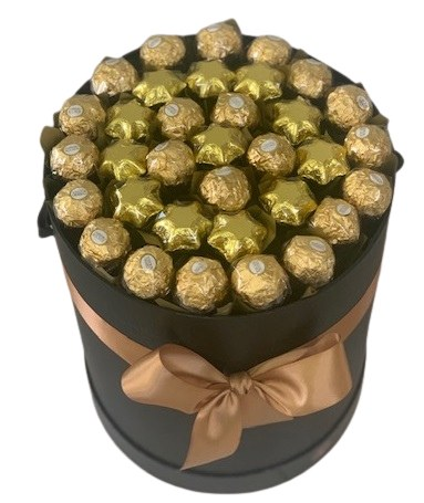 ferrero rocher and chocolate star edible gift bouquet in a black hat box