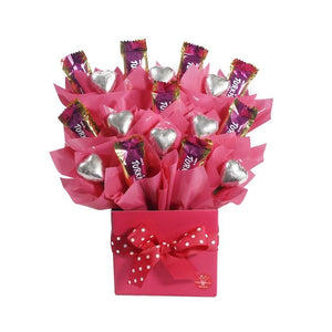 Pink Lollylicious basket with Turkish Delight's and Belgian milk chocolate hearts