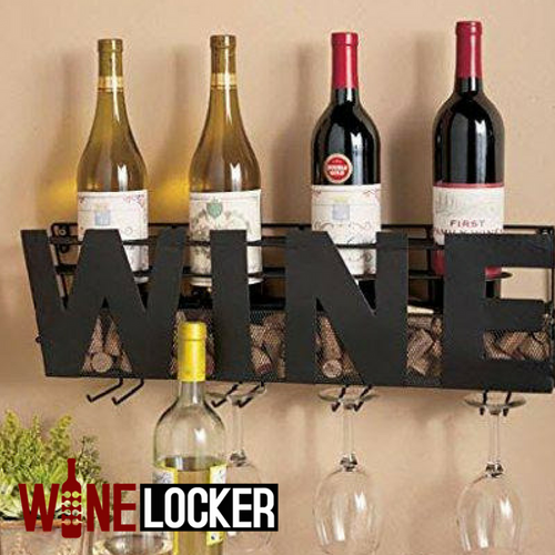 Decorative WINE Wine Bottle & Glass Display