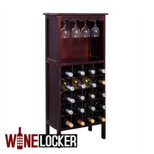 Wood Burgundy Wine Cabinet 20 Bottle Holder Storage