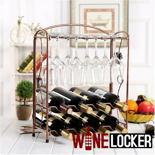 European Style Wine Rack Holds 8 Bottles And 8 Glasses-Bronze