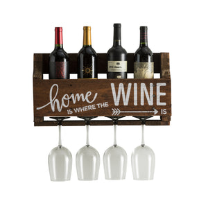 "Wine Quote ""Home is Where the Wine is"" Wall Mounted Wine Rack"
