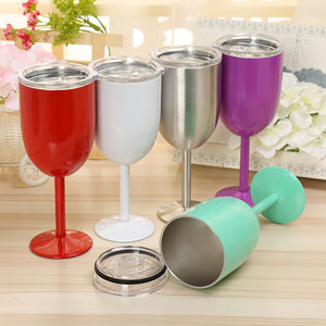 Stainless Steel Wine Tumbler with Lid 10oz