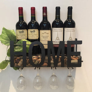 Home Wall Mounted Wine Rack With Glass and Cork Display