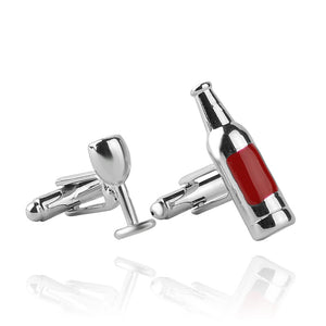Beautiful Wine Bottle and Glass Cufflinks for Men and Women