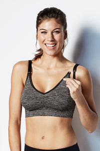 Bravado Body Silk Seamless Yoga Nursing Bra - Heather Charcoal - tummystyle.com